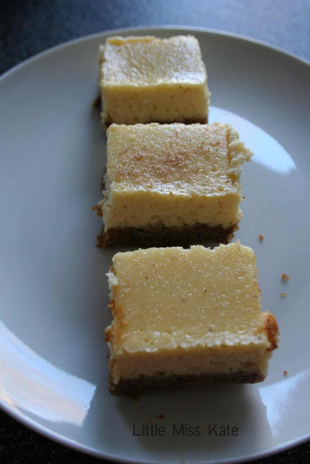 Eggnog Cheesecake Bars Recipe via LittleMissKate.ca