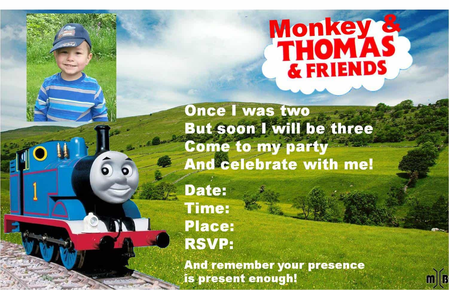 3rd birthday Thomas the train invitation