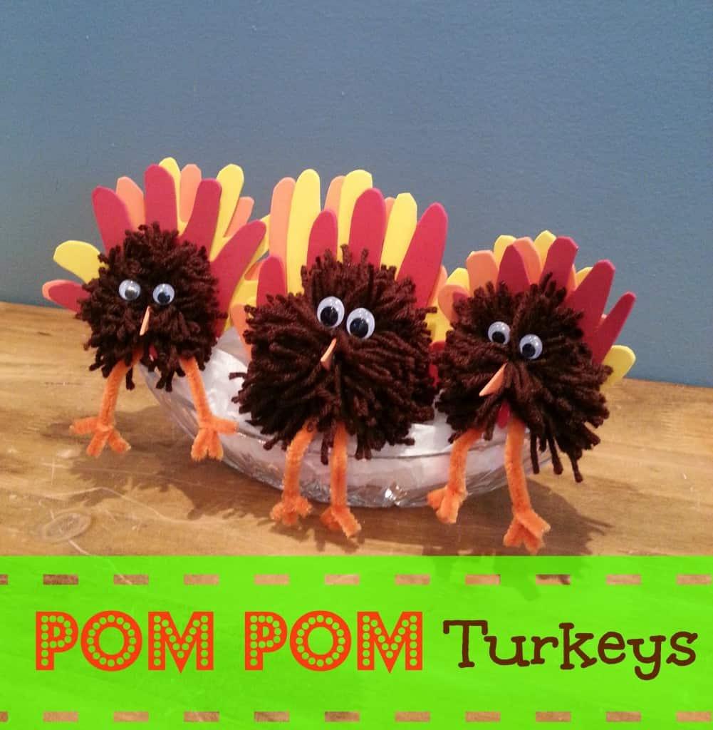 Easy thanksgiving craft pom pom turkey 2