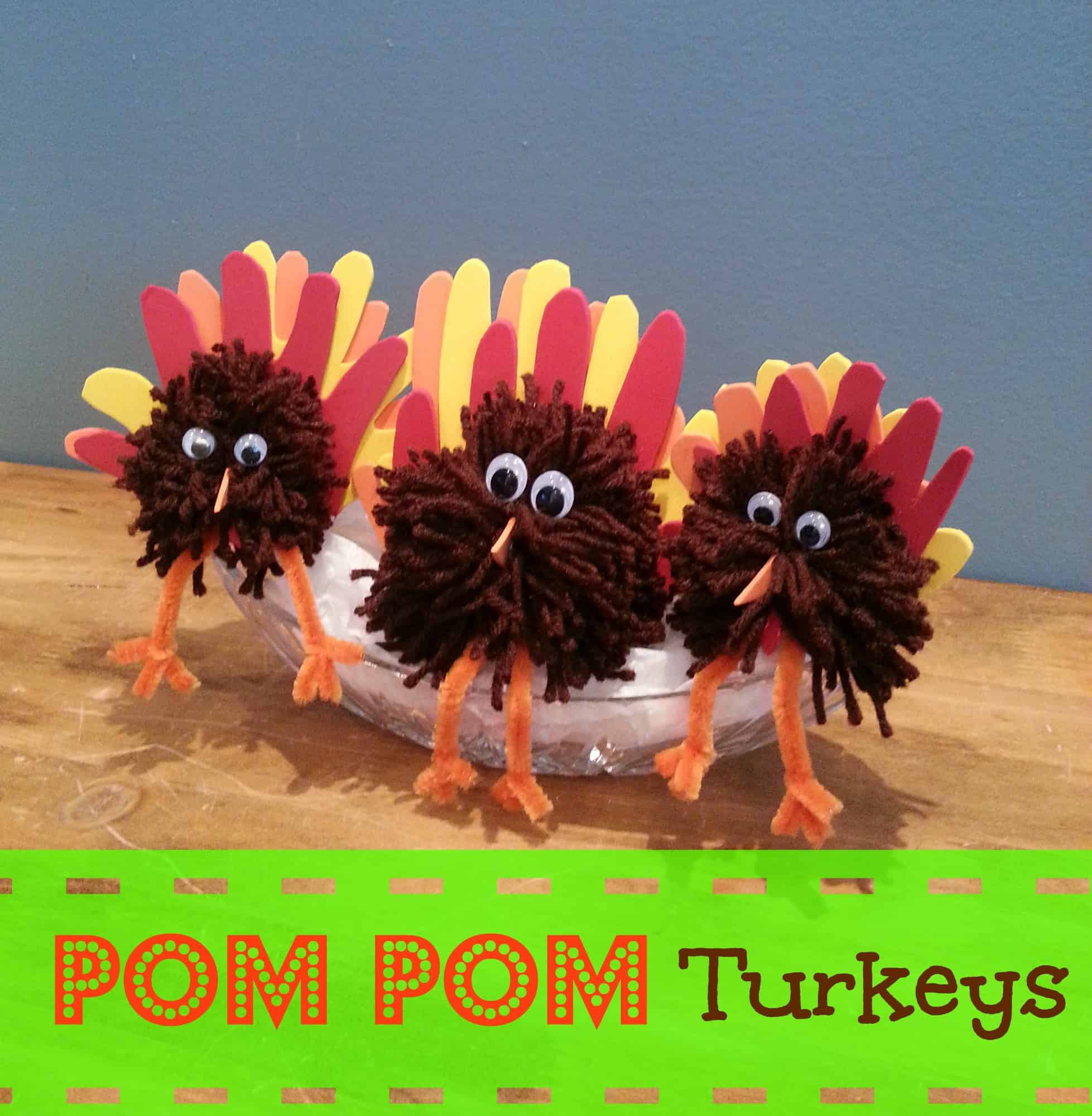 Easy thanksgiving craft pom turkey centerpiece
