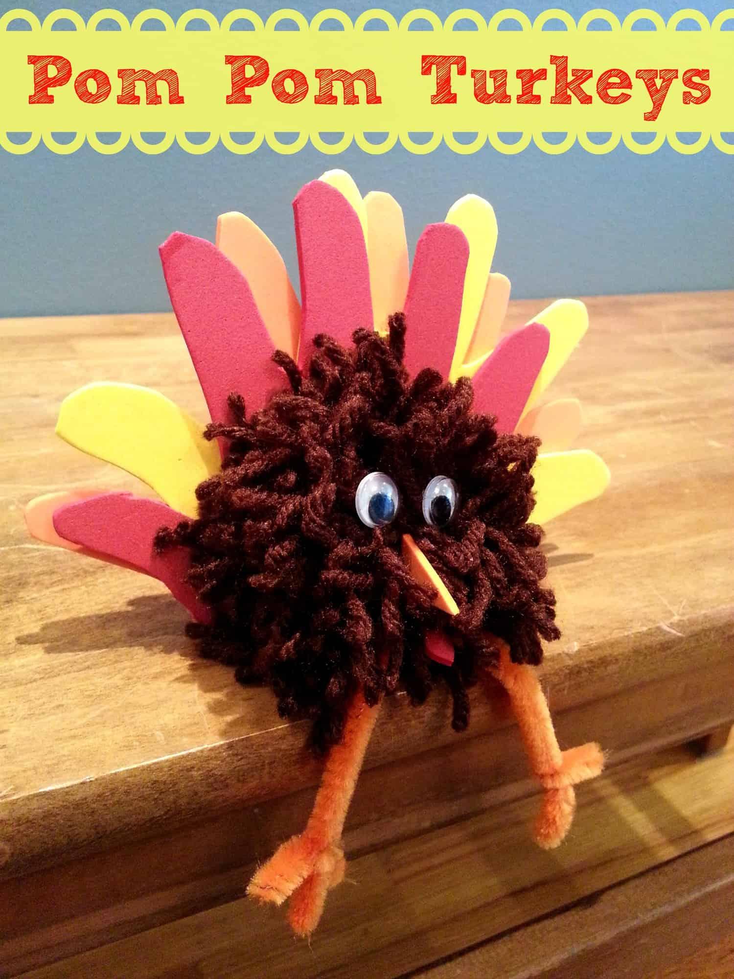 Easy thanksgiving craft pom pom turkey