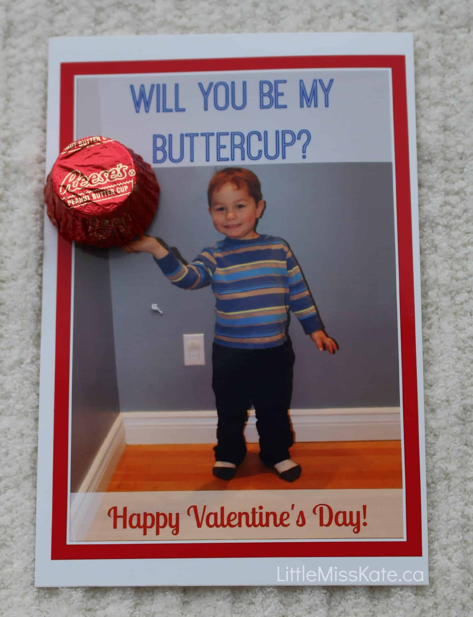 DIY Personalized Photo Valentine's Day Cards with Peanut Butter Cups via littlemisskate.ca