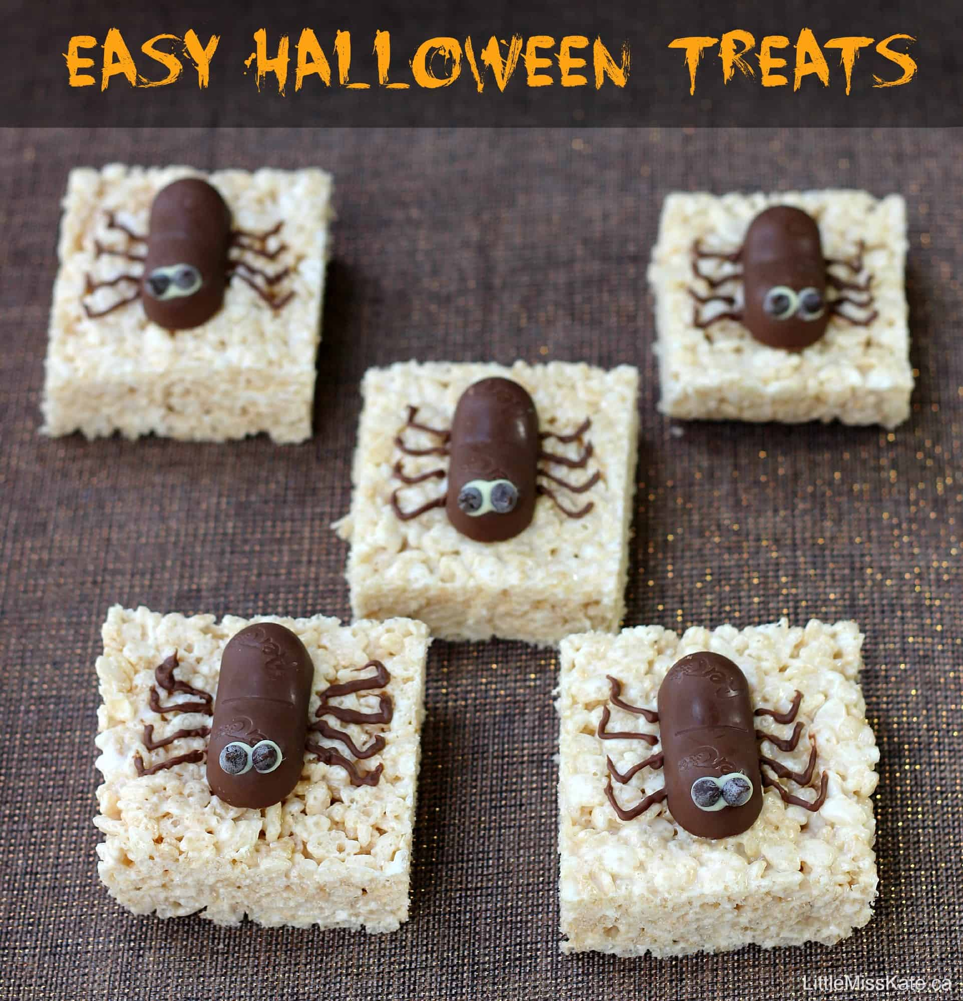 easy halloween dessert idea Spider rice krispie squares via Little Miss Kate