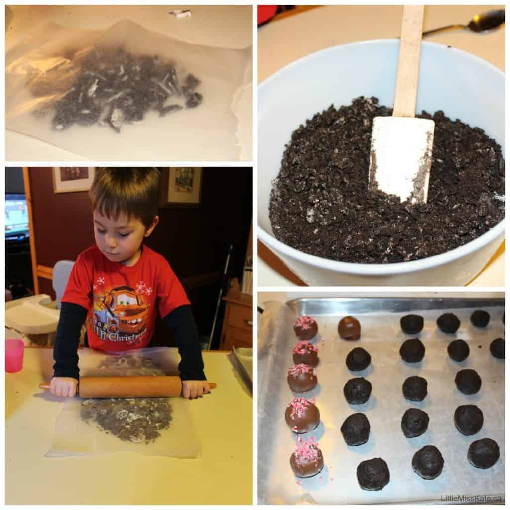 how to make Easy Peppermint Oreo Truffles Recipe via LittleMissKate.ca