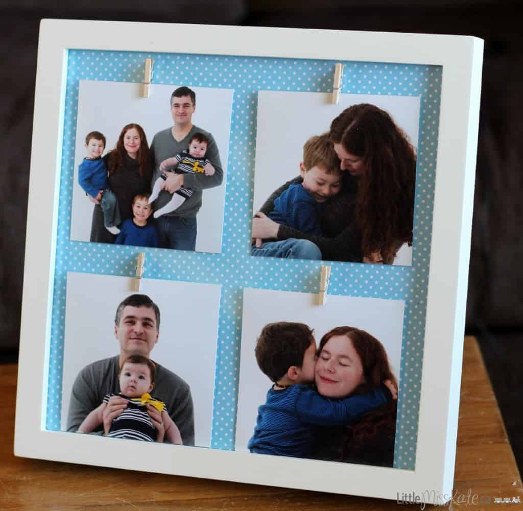DIY photo display picture frame idea - great craft gift idea for mothers day