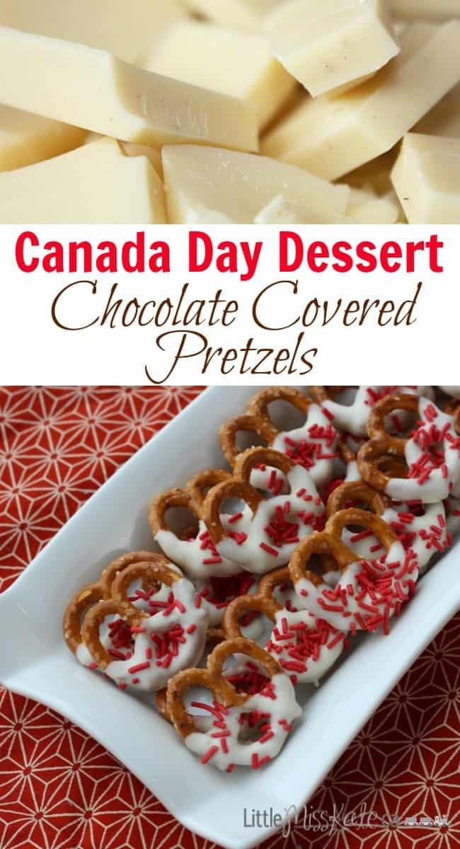 Canada Day Dessert Idea - Chocolate Covered Pretzels