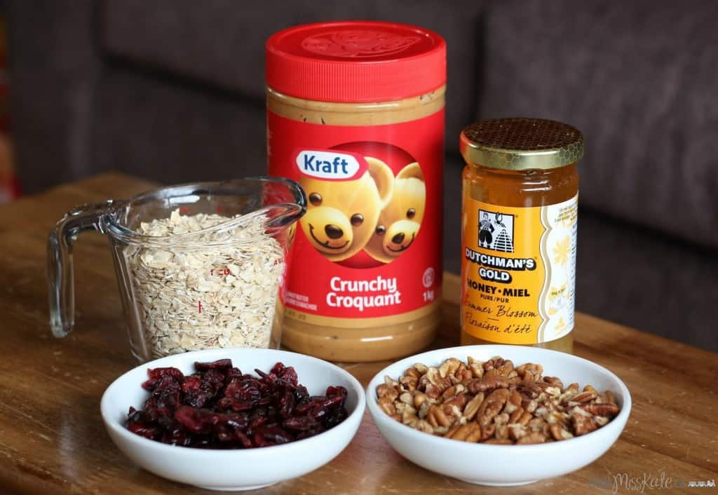 cranberry pecan peanut butter bites recipe ingredients