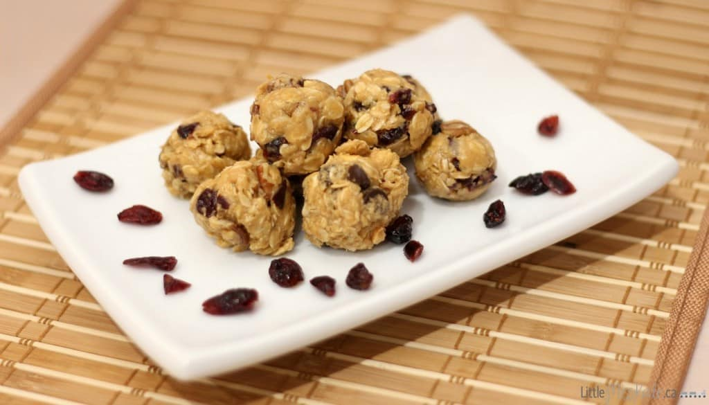 cranberry pecan peanut butter bites recipe on tray