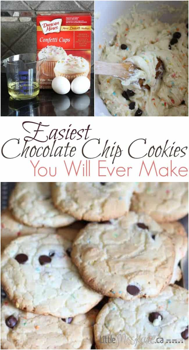 Easiest Chocolate Chip Cookies You Will Ever Make - Chocolate Chip Cake Cookies