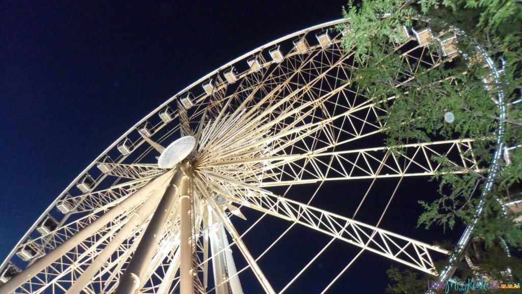 niagara falls skywheel ferris wheel at night in the rain