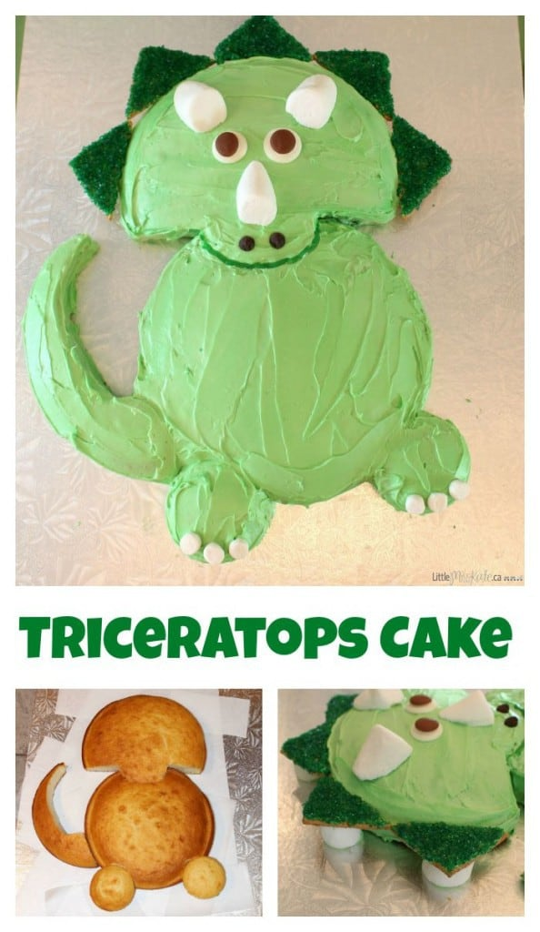 Easy triceratops dinosaur birthday cake recipe via littlemisskate.ca
