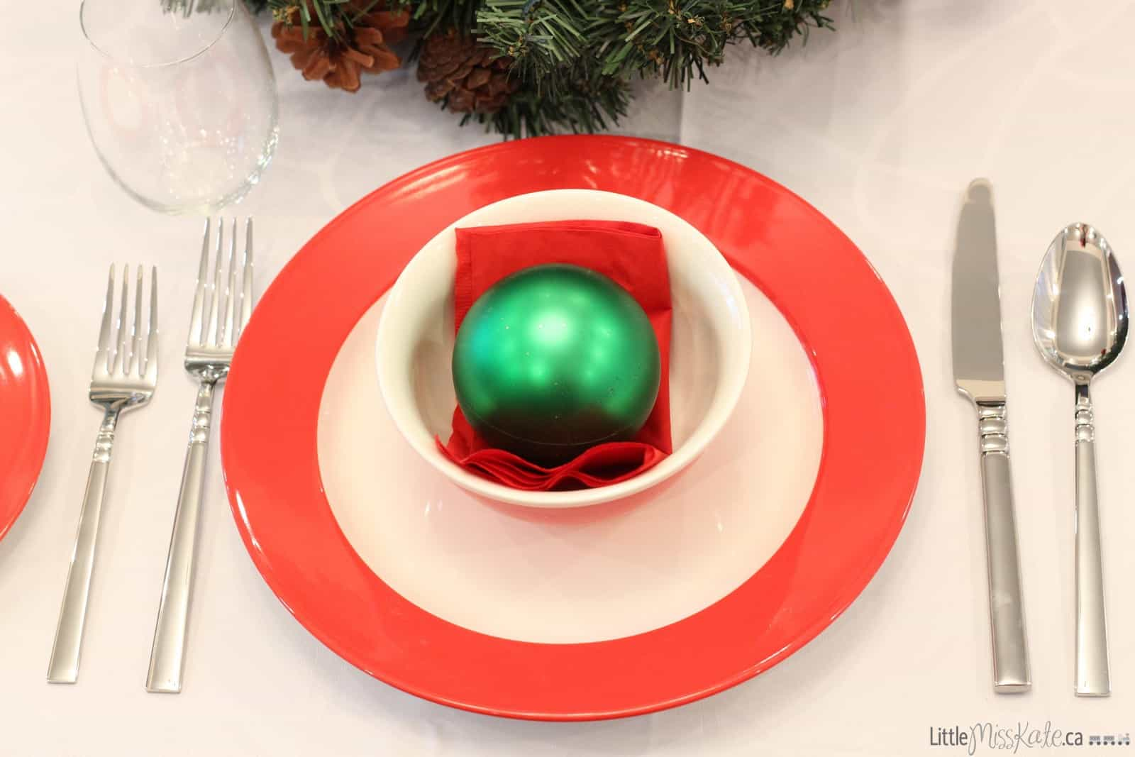 Christmas Place Setting for dinner table
