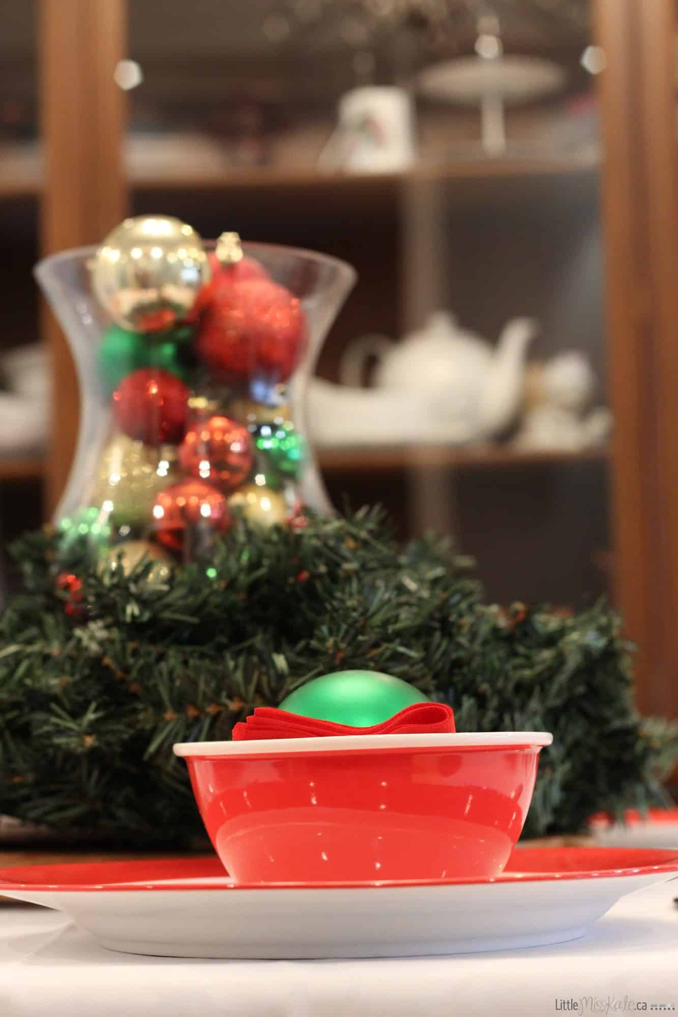 Christmas table centerpiece simple holiday decor