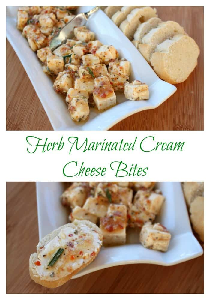Easy herb marniated cream cheese bites perfect for a potluck or appetizer