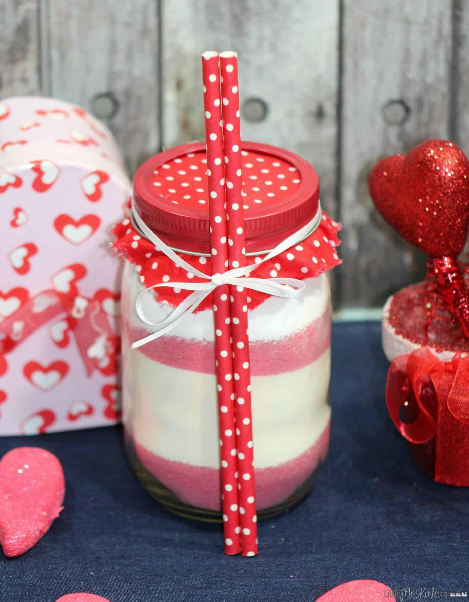 Mason jar gift idea Hot Strawberry Drink Mix Recipe Valentines Day Drink Idea
