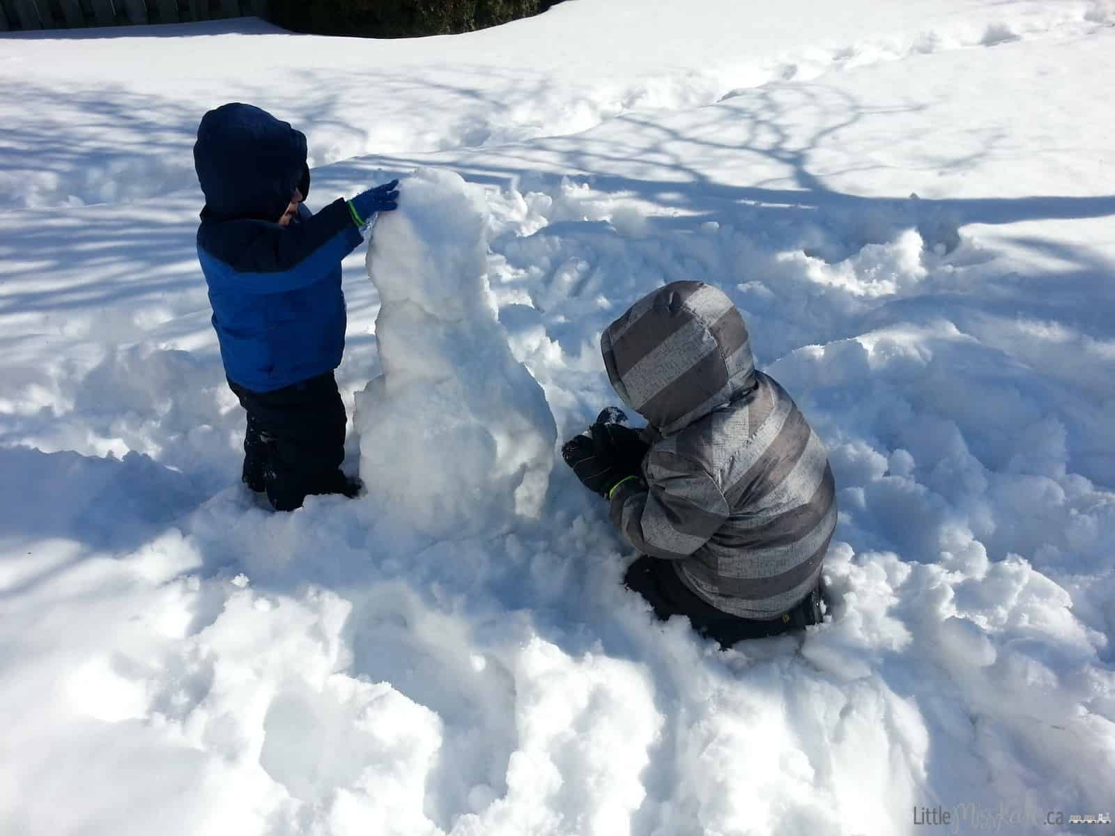 Winter fun building a snowman