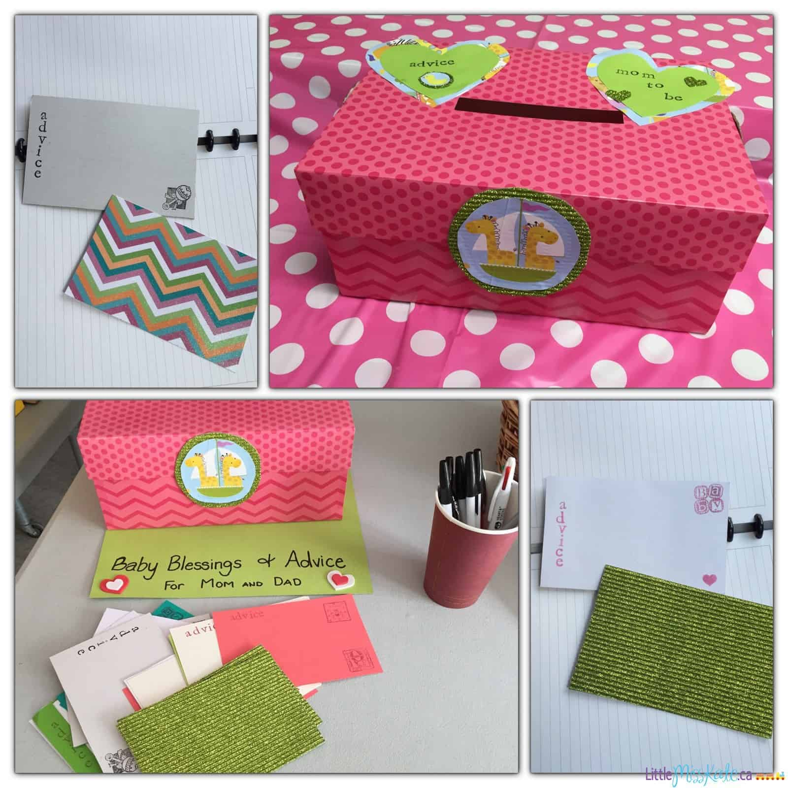 Baby shower game idea advice and well wishes box for Bathroom designs games