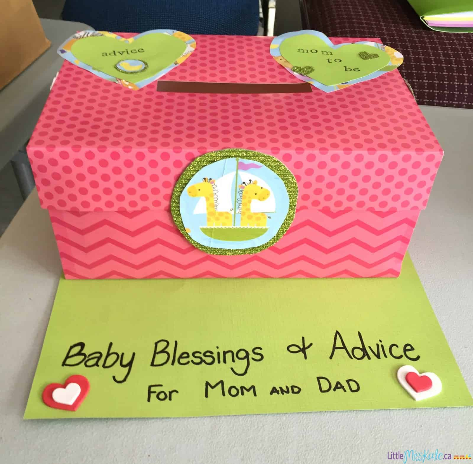 Baby shower game idea advice and well wishes box