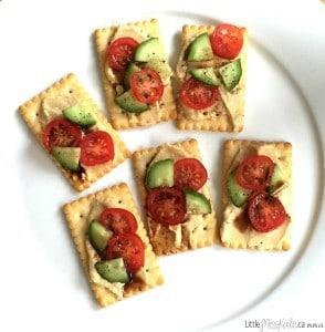 Healthy Nutritious Hummus Cracker Snacks