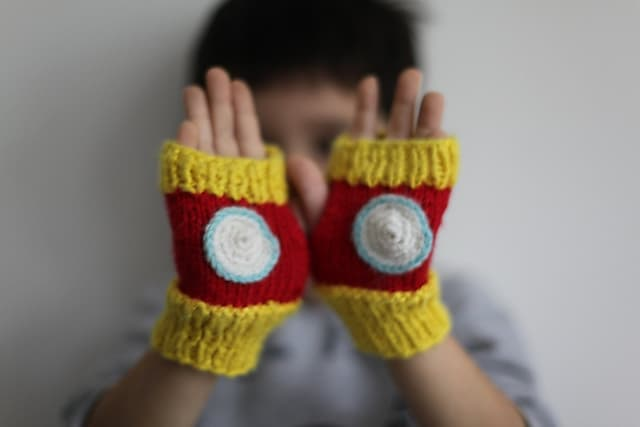 Free knitting pattern for boys Iron Man Fingerless Mittens
