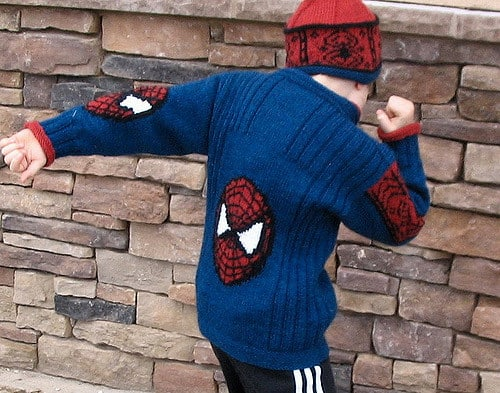 Free knitting pattern for boys spiderman sweater