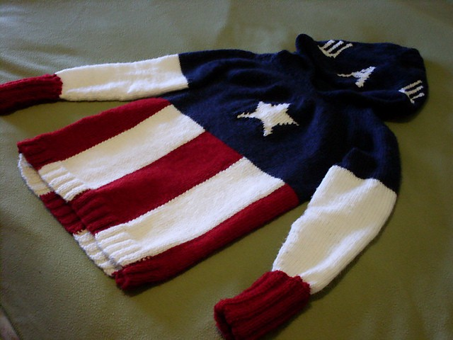 Free knitting pattern for boys Super Hero Ca[tain America Sweater