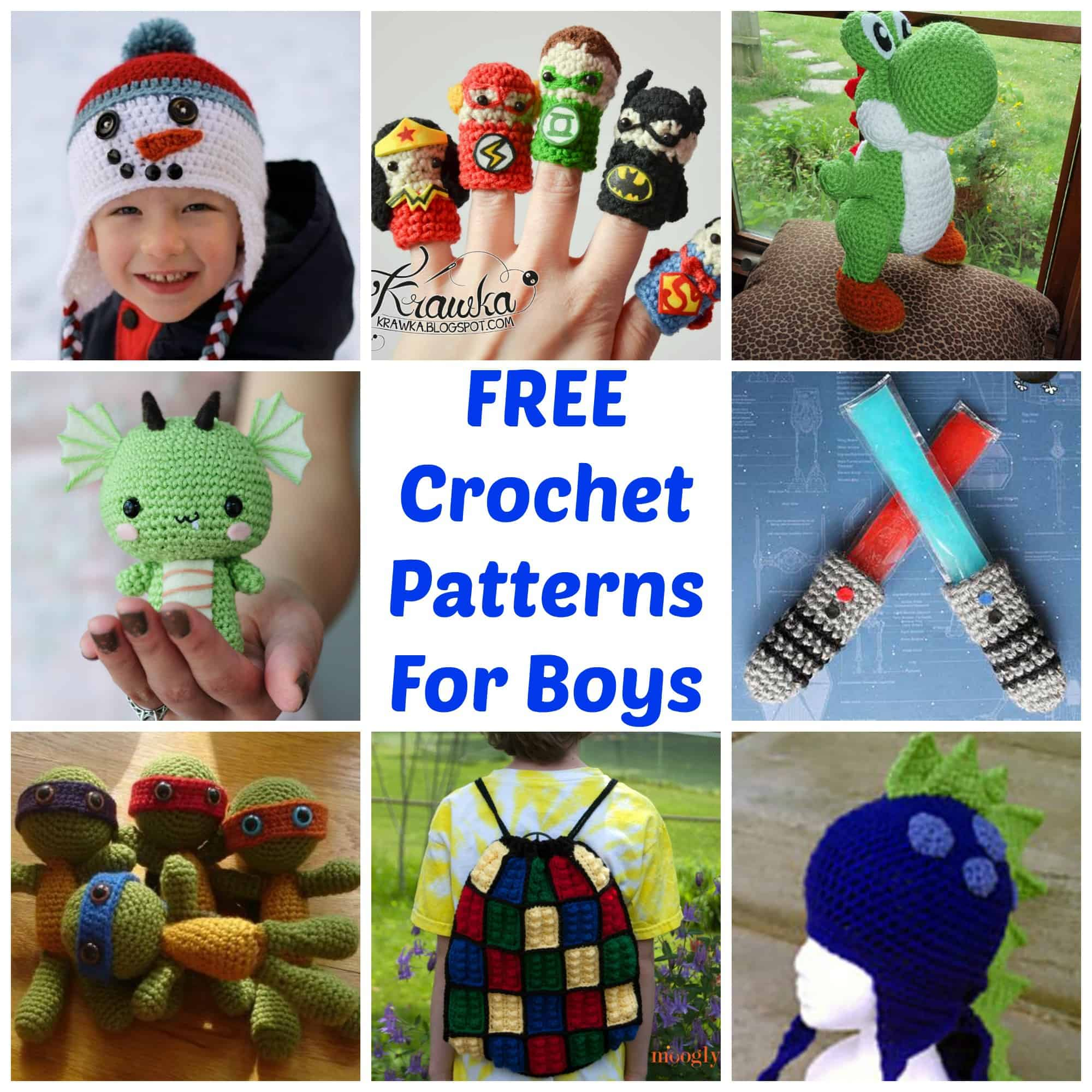HUGE List of Free Crochet Patterns For Boys via LittleMissKate.ca
