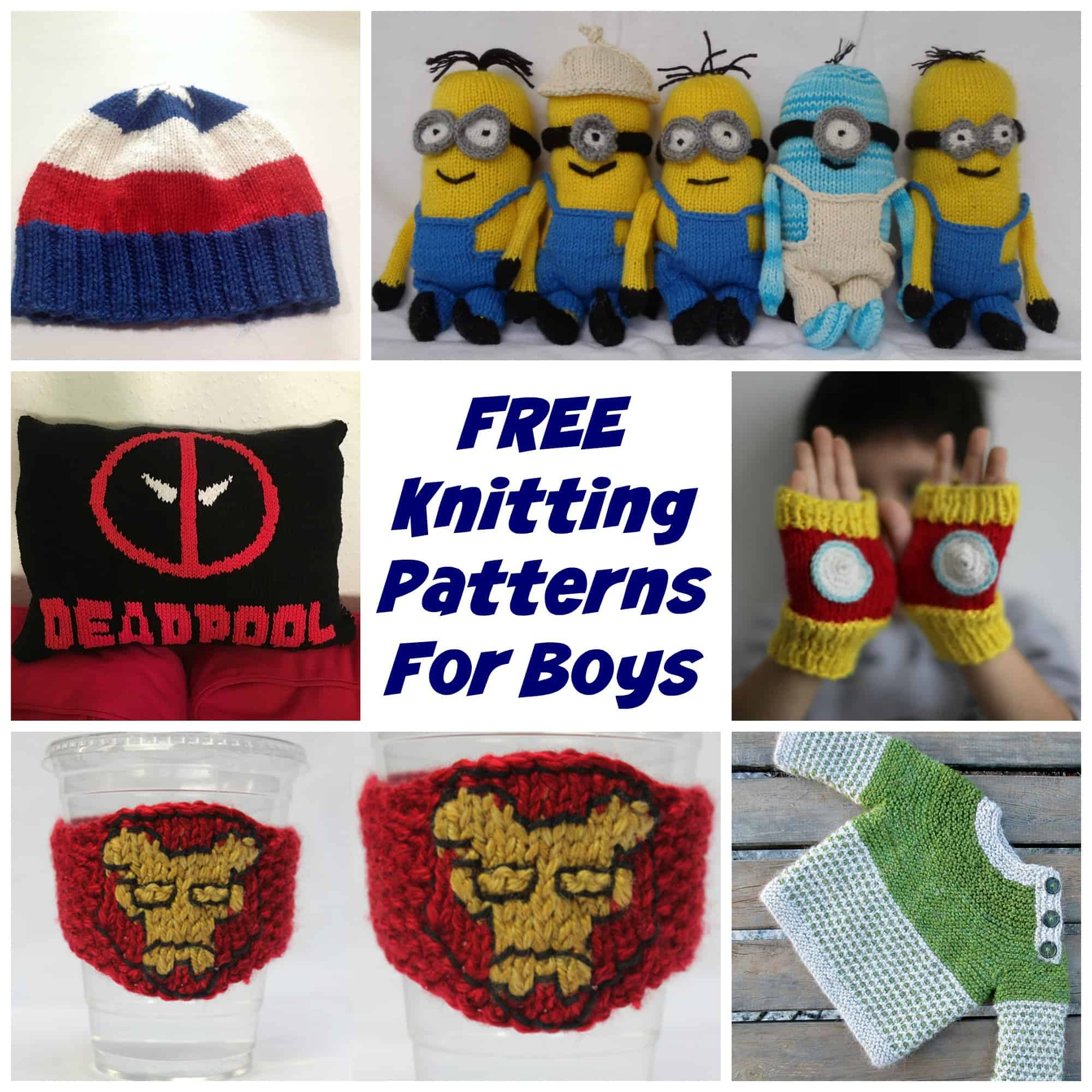 HUGE List of free knitting patterns for boys including hats, sweaters and toys