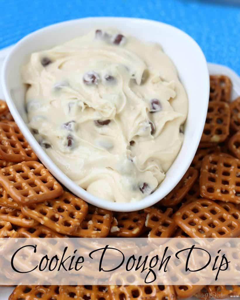 Dessert Dip Idea - Cookie Dough Dip with Pretzels via Little Miss Kate