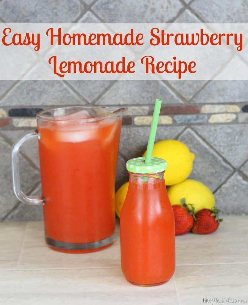 Easy Homemade Strawberry Lemonade Recipe - Summer Drink Idea via LittleMissKate.ca