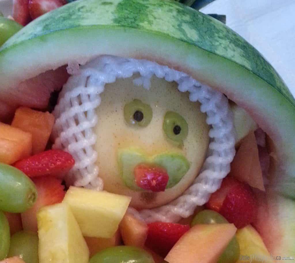 Baby shower dessert idea: Baby carriage fruit salad bowl via LittleMisskate.ca
