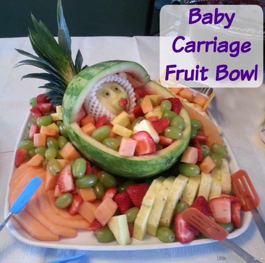 baby shower food ideas baby carriage fruit salad bowl little miss