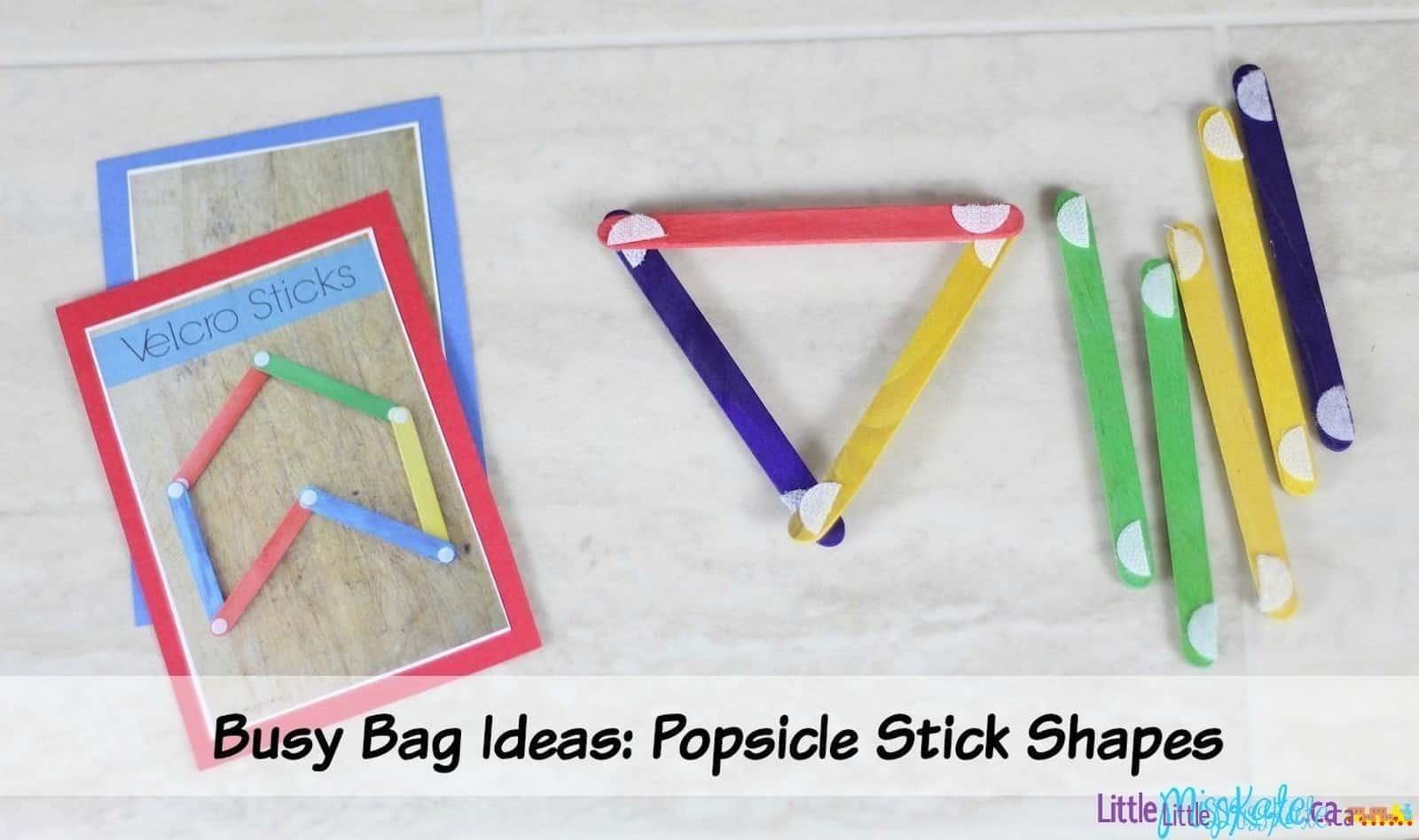 Busy Bag Idea for Kindergarten - Popsicle Stick Shapes via LittleMissKate.ca