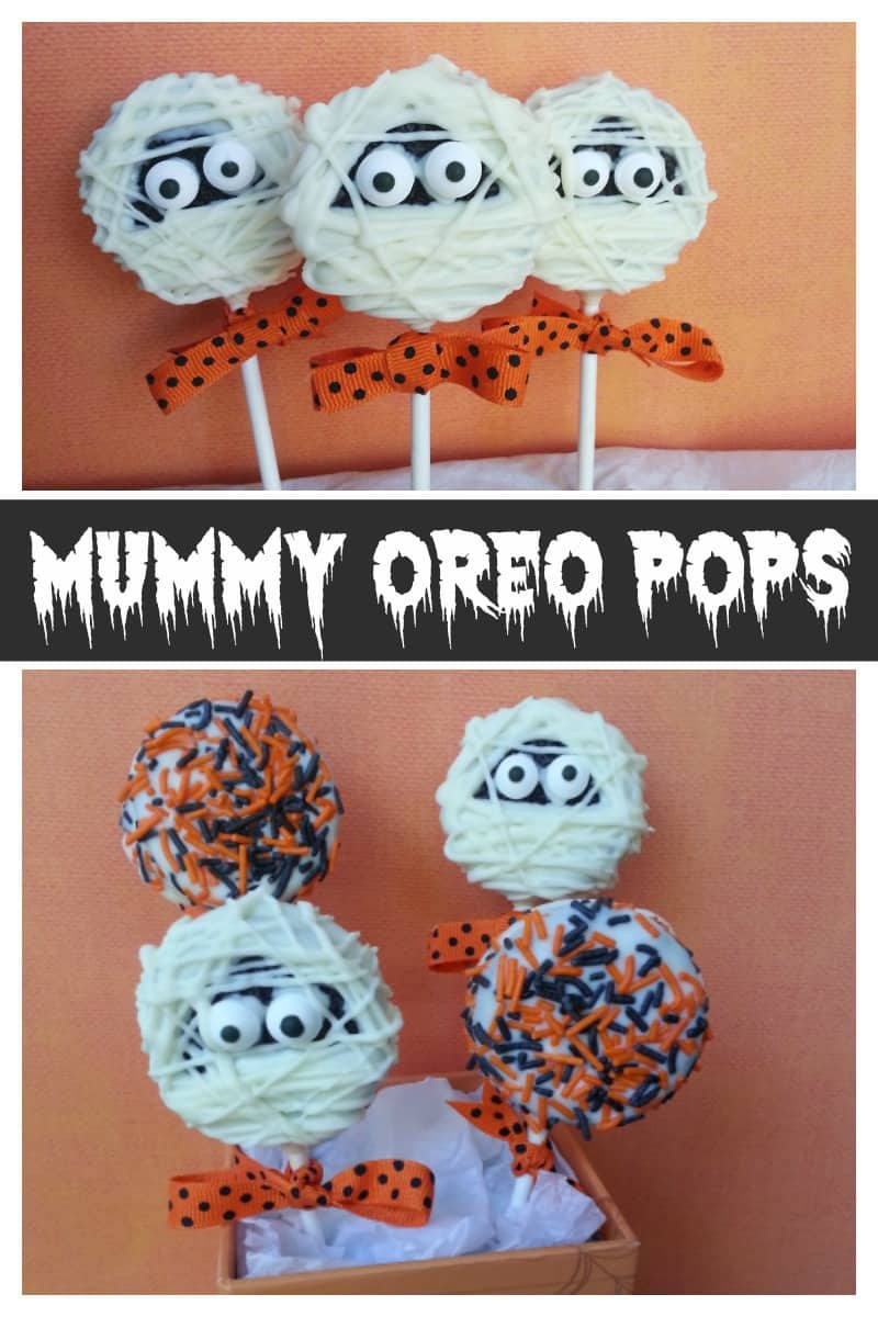 easy Halloween treat idea - mummy oreo Pops