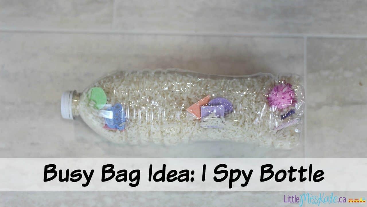 Busy Bag Idea for Preschool - I Spy Bottle via LittleMissKate.ca