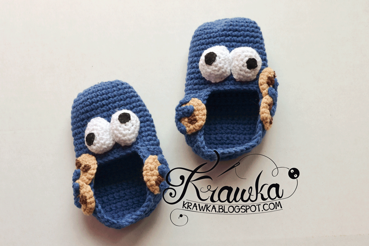 free crochet pattern for boys cookie monster booties