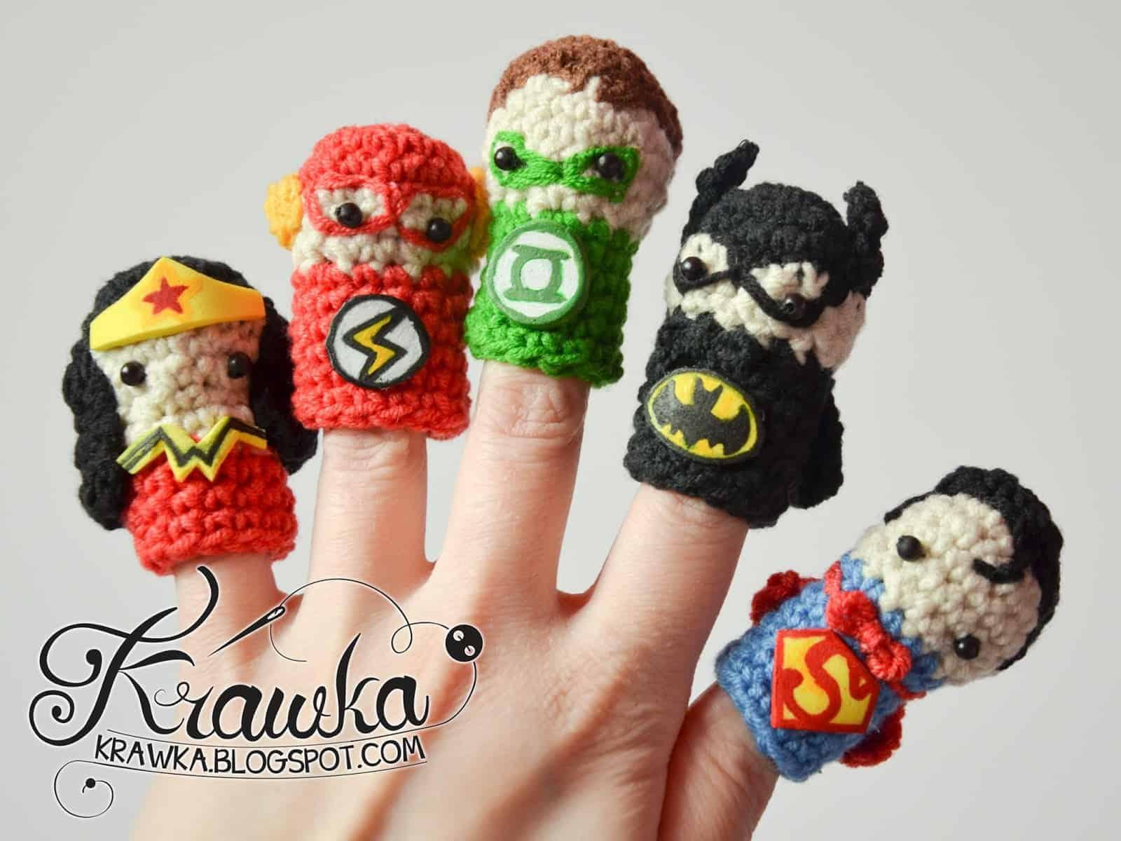free crochet pattern for boys superhero finger puppets