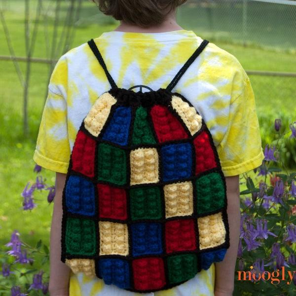 free crochet pattern for boys lego backpack