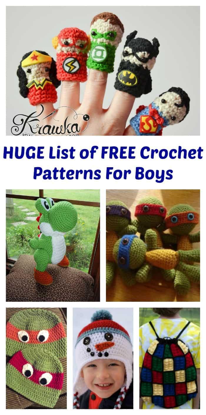 Huge List of FREE crochet Patterns for Boys via littlemisskate.ca