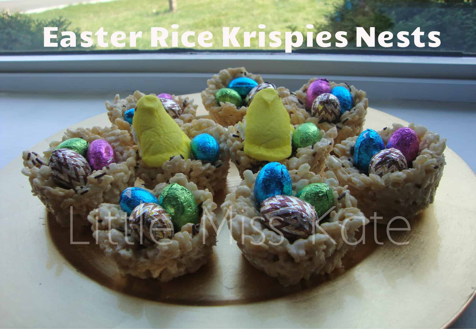 Easter Rice Krispies Nests via LittleMissKate.ca