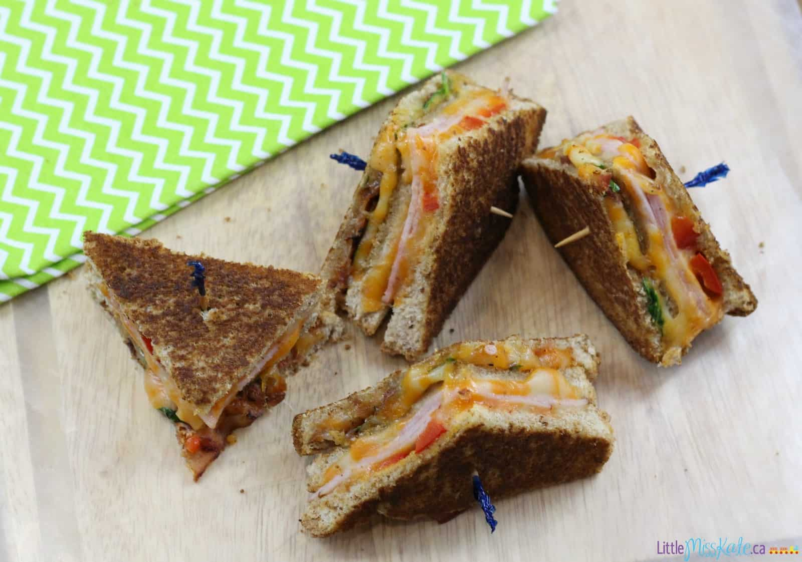 Ultimate Grilled Cheese Recipes - Ham, Bacon Club Grilled Cheese via www.littlemisskate.ca