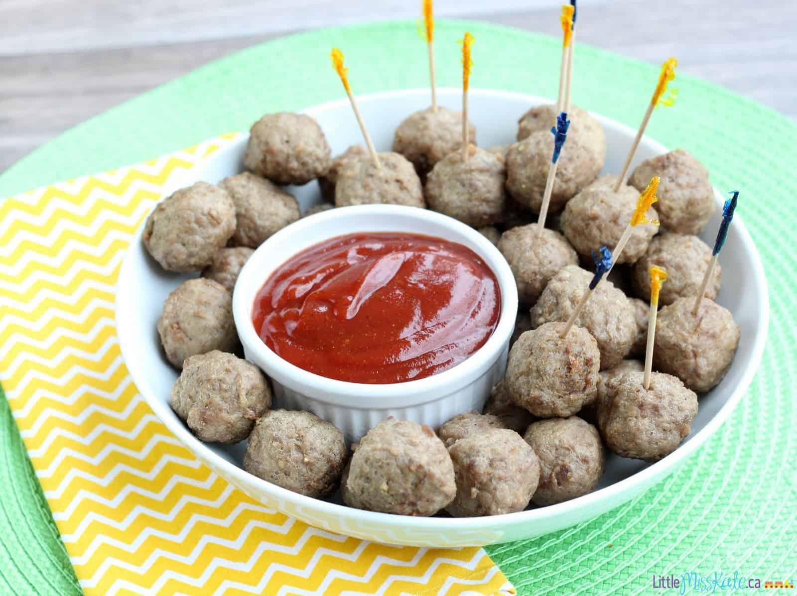 Quebec Inspired Dip with Cocktail Meatballs Recipe via LittleMissKate.ca