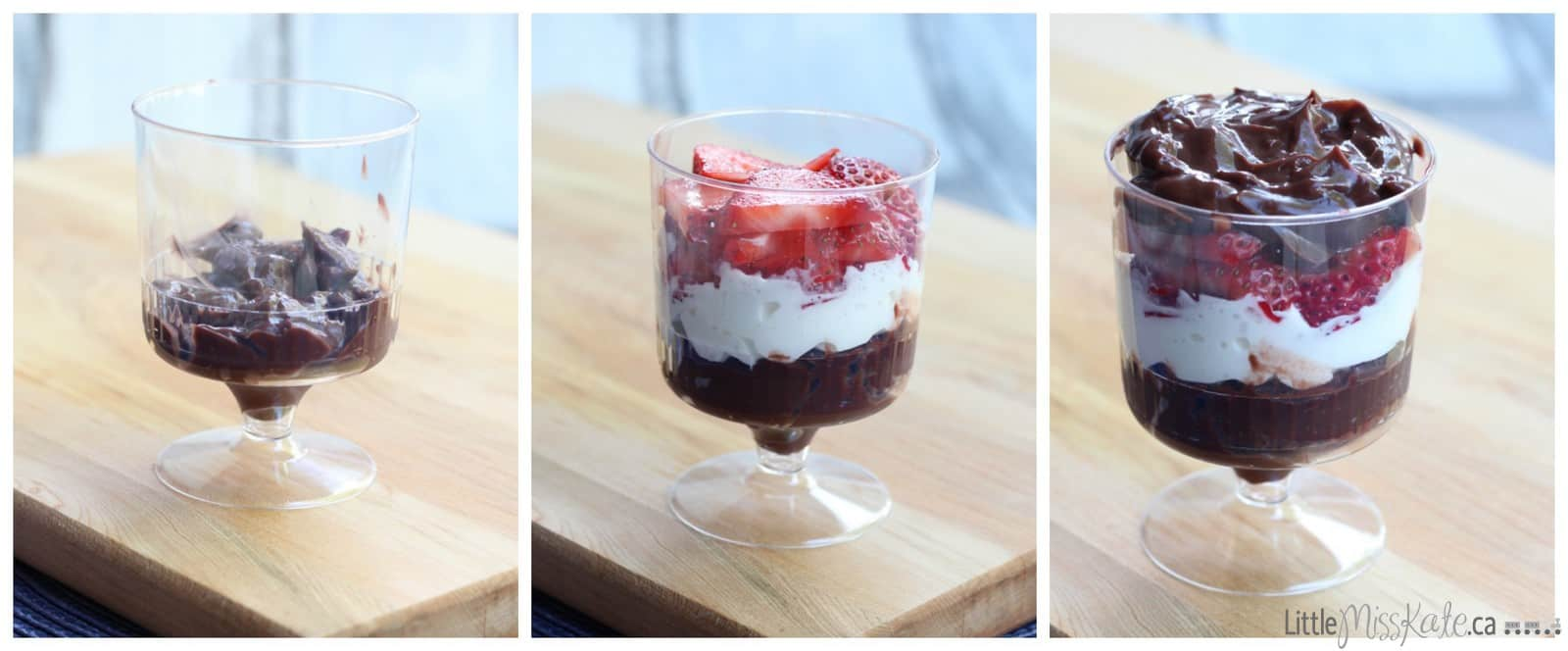 Easy Strawberry Chocolate Pudding Parfait Recipe via LittleMissKate.ca