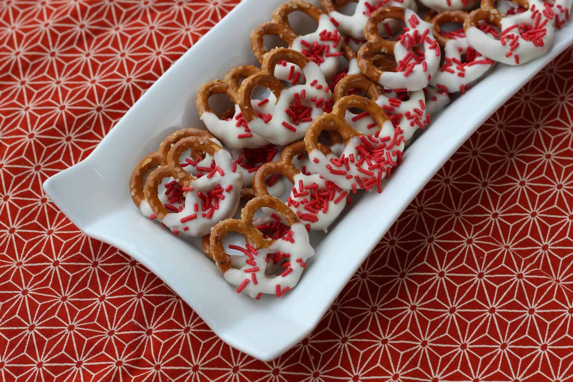 Easy Canada Day Dessert Idea - Chocolate Covered Pretzels