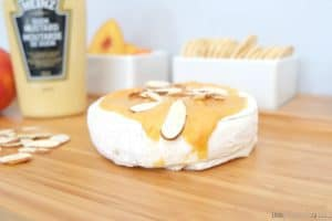 Easy Brie Appetizer: Tangy Mustard-Peach Baked Brie via littlemisskate.ca