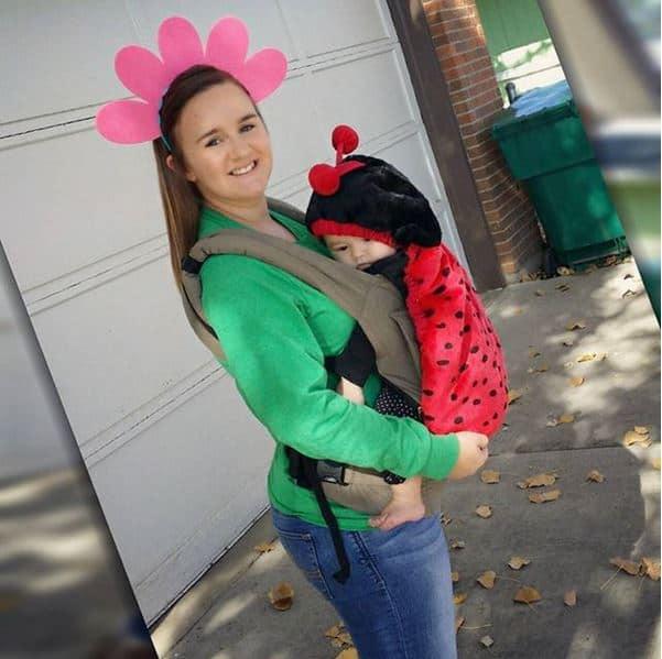 Flower and Lady Bug babywearing costume ideas via littlemisskate.ca