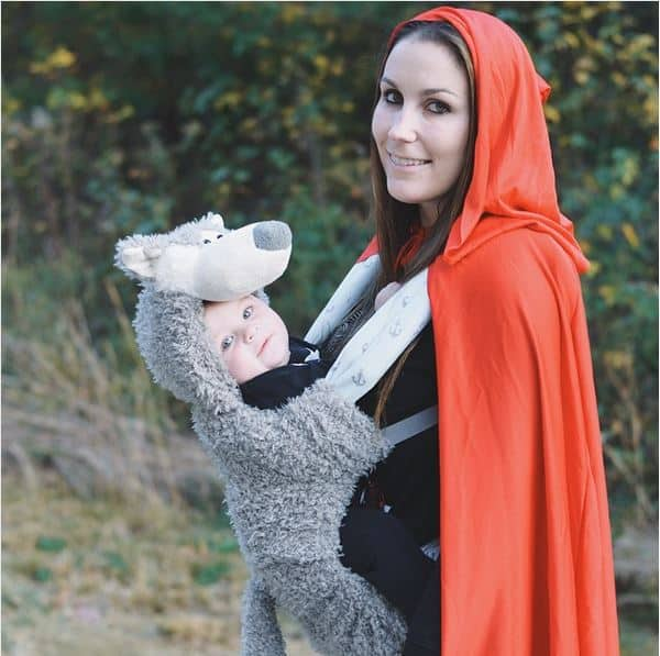Little Red Riding Hood and Wolf babywearing costume idea via littlemisskate.ca