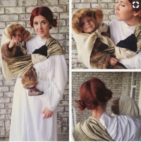 Leia and Ewok babywearing costume ideas via littlemisskate.ca