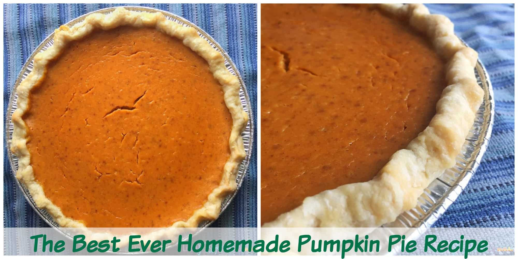 Homemade pumpkin pie made with canned pumpkin recipe