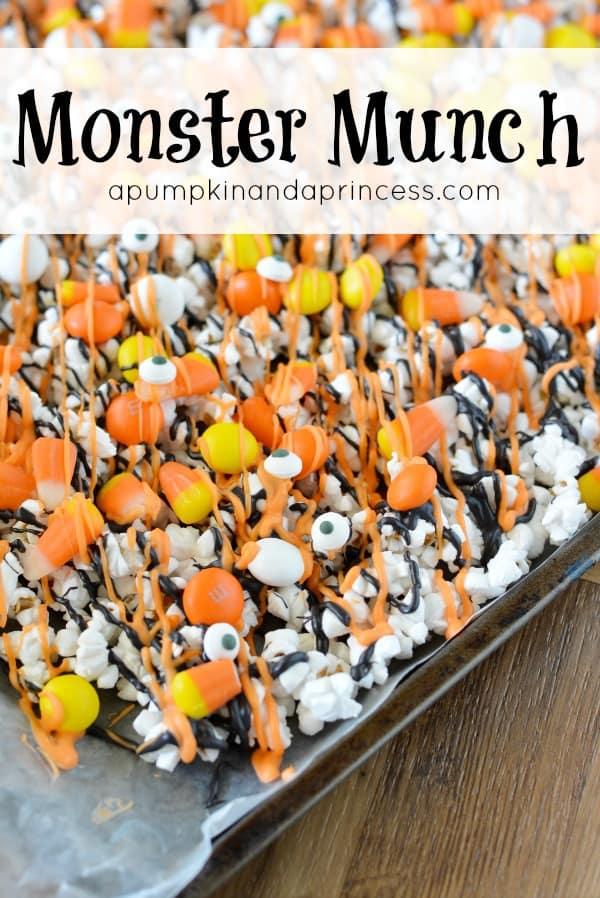 Leftover Halloween Candy Recipes Monster Munch Popcorn via LittleMissKate.ca